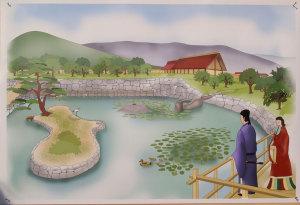 飛鳥宮苑池跡発掘現場